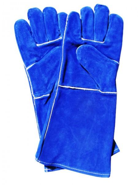 Arbeitsschutz-Handschuhe aus blauem Rindspaltleder_