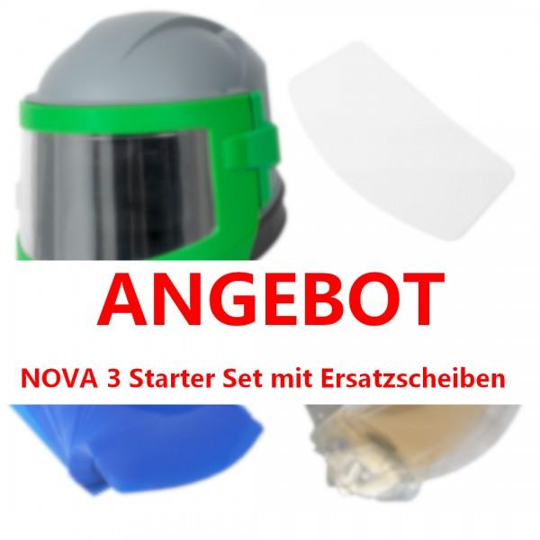 Sandstrahlhelm NOVA 3 mit NYLON-Schutzcape, STARTER-SET_