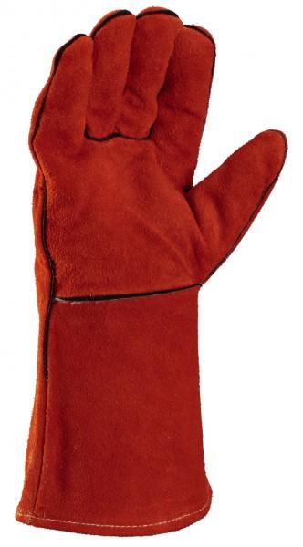 Arbeitsschutz-Handschuhe aus rotem Rindspaltleder, mit 35 cm_