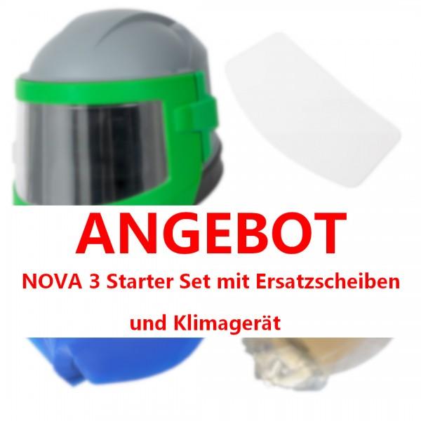 Sandstrahlhelm NOVA 3 mit NYLON-Schutzcape + KLIMAGERÄT_